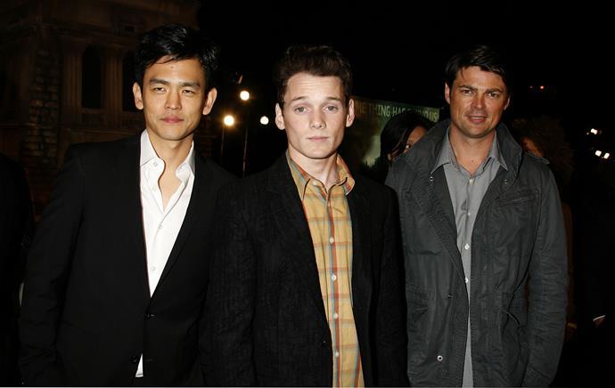 Anton Yelchin (centre) pictured with Star Trek co-stars John Cho (r) and Karl Urban (l)
