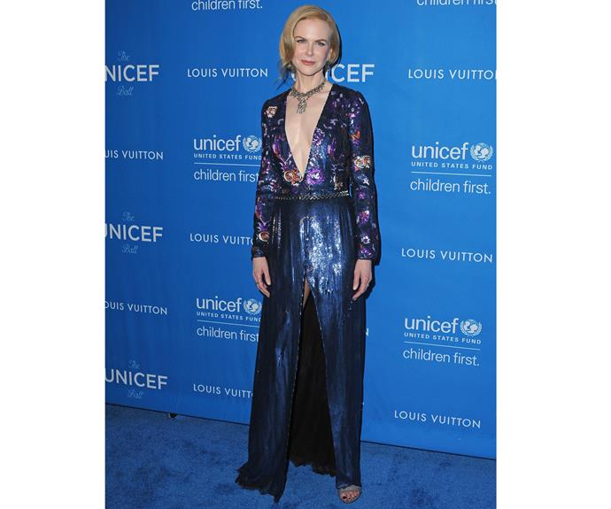 Nicole Kidman wearing a custom Louis Vuitton dress to the 6th Biennial UNICEF Ball at the Beverly Wilshire Four Seasons Hotel on January 12, 2016.