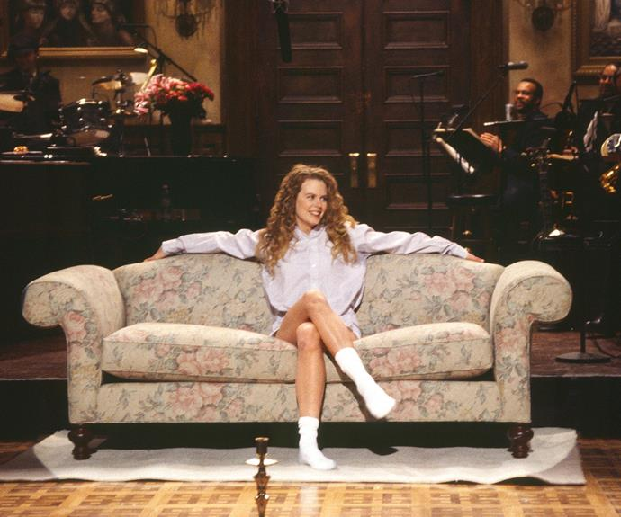 Way back in the day, Nicole hosted Saturday Night Live in 1993... Her pants apparently did not make the cut.
