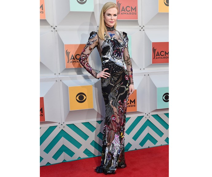 Again in Alexander McQueen, Kidman supported her hubby at the 51st Academy of Country Music Awards at MGM Grand Garden Arena in 2016. Though all her gowns have been amazing, this one was our personal favorite.