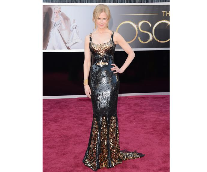 At the 2013 Oscars, Nicole's skin tight black and gold number stole the show in one of her favourite designers, L'Wren Scott.