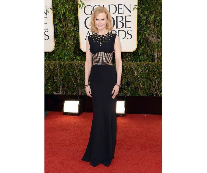 Once again wearing Alexander McQueen, Kidman arrived at the Golden Globe Awards looking stunning in this twist on the little black dress.