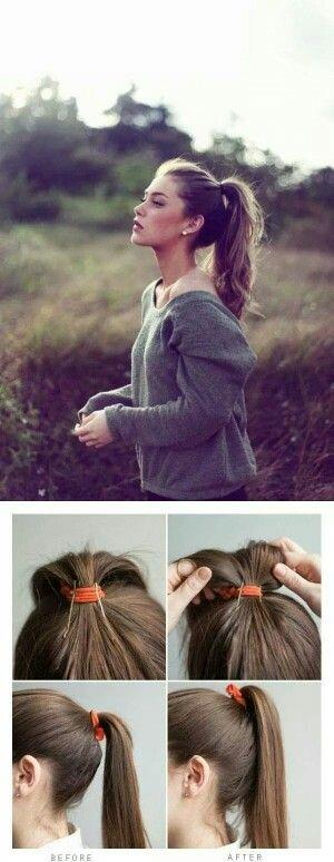 **Lift your pony** If your ponytail refuses to stay perky, add a couple of bobby pins around the base of the hairband to help keep it lifted. [Via Buzzfeed](https://nz.pinterest.com/pin/154318724709650881/)