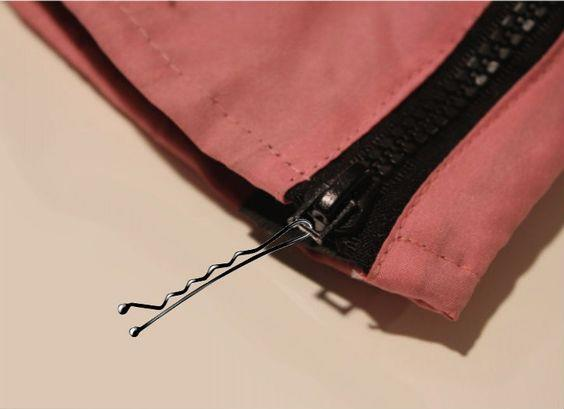 **Fix a zipper** If the zipper pull snaps off, a bobby pin is usually small enough to loop through the hole and help close it. Just remember to remove before you leave the house! [Via Minq]( https://nz.pinterest.com/pin/295056213066853244/)