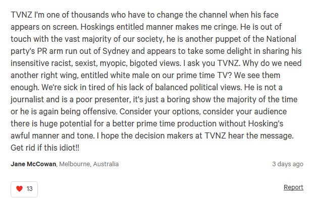 """""""Why do we need another right wing, entitled male on prime time TV?"""""""
