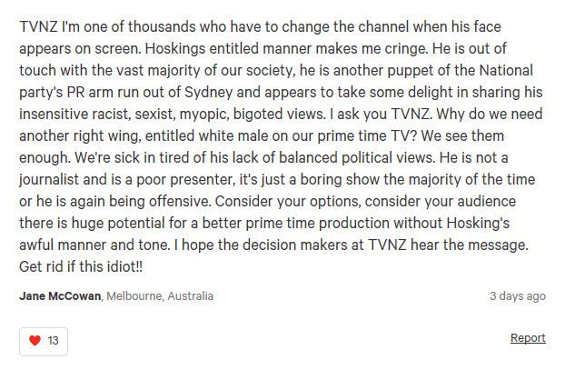"""Why do we need another right wing, entitled male on prime time TV?"""