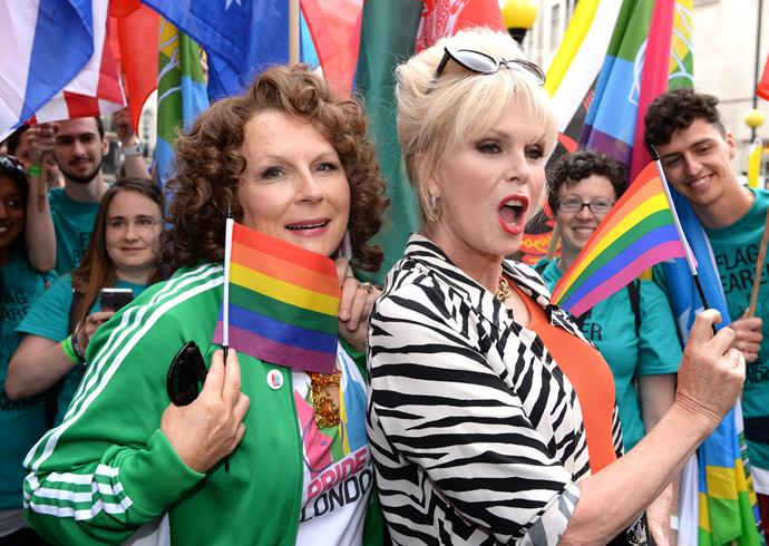 Ab Fab's Edina and Patsy were in attendance at last year's London Pride parade. Photo: Getty Images