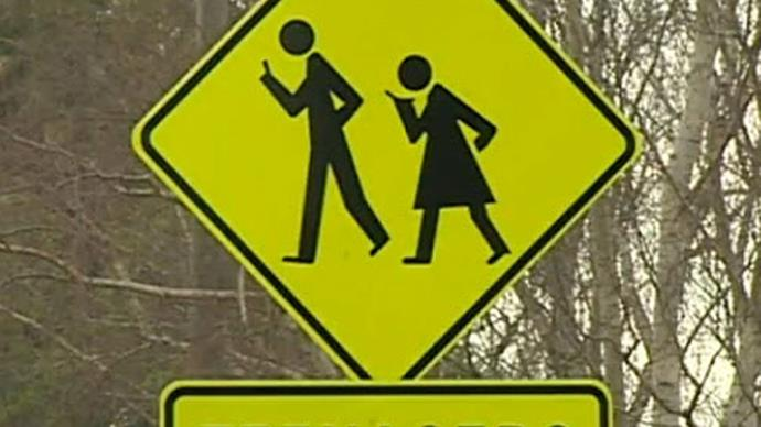 Teenagers crossing