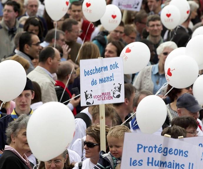 Euthanasia protests around the world.