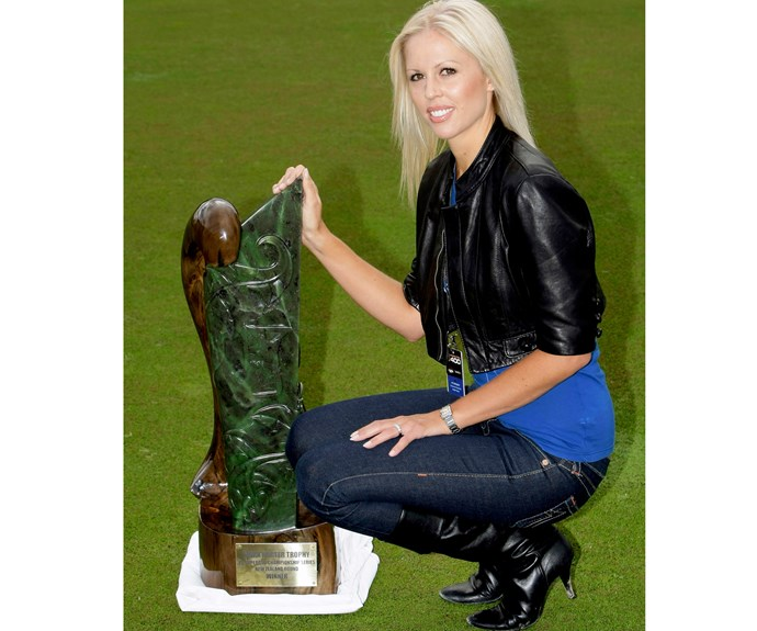 Adrienne with the Mark Porter Memorial Trophy.