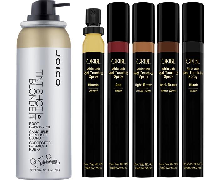 Joico Tint Shots, $26., Oribe Airbrush Root Touch-Up Spray, $49.