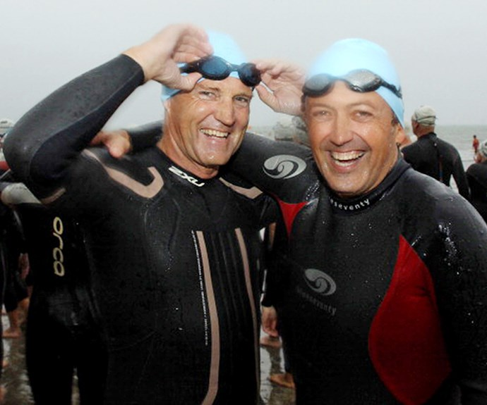Waiting to start the King of the Bays Ocean swim with Stephen McIvor in 2011.