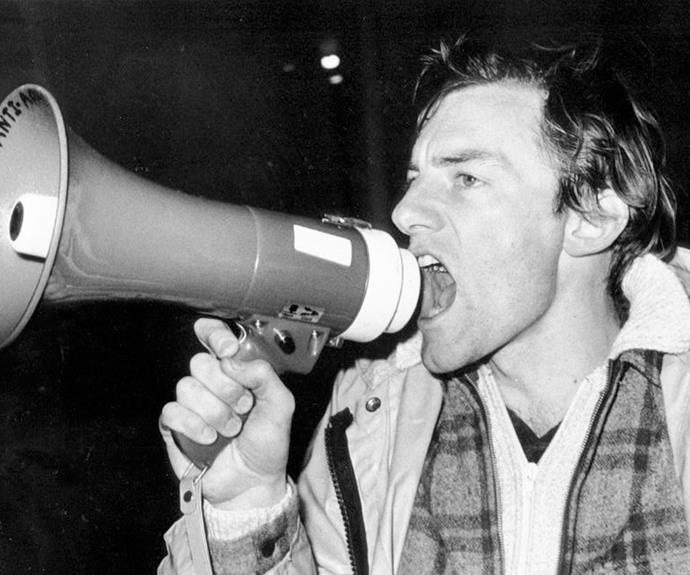 John Minto voicing his protest to the Springbok Rugby Tour in 1981.