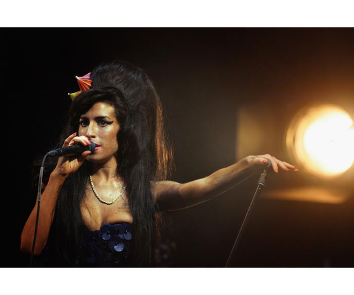 Amy Winehouse performs at Glastonbury in 2008.
