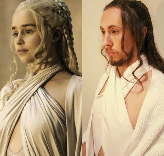 Mark as *Game of Thrones'* Mother of Dragons, Daenerys Targaryen. Photo via [Facebook](https://www.facebook.com/DryJulyShaveOff/photos/?tab=album&album_id=613015525529549)