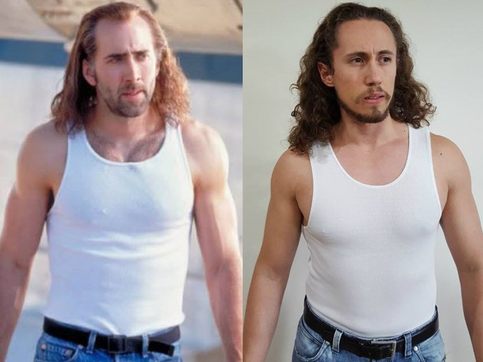 He could be Nicolas Cage's twin. Photo via [Facebook](https://www.facebook.com/DryJulyShaveOff/photos/?tab=album&album_id=613015525529549)