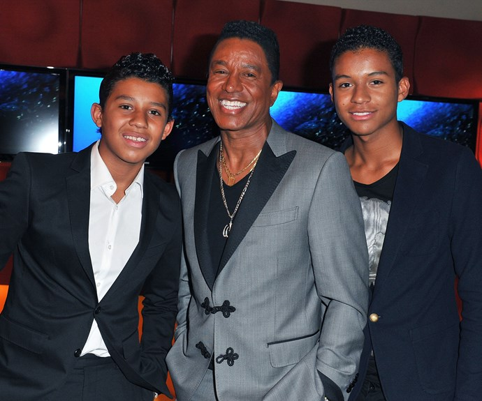 Jermajesty really is the crown jewel of creative names. Jermaine Jackson looks pretty pleased with his choices, standing between sons Jermajesty and Jaafar Jackson.