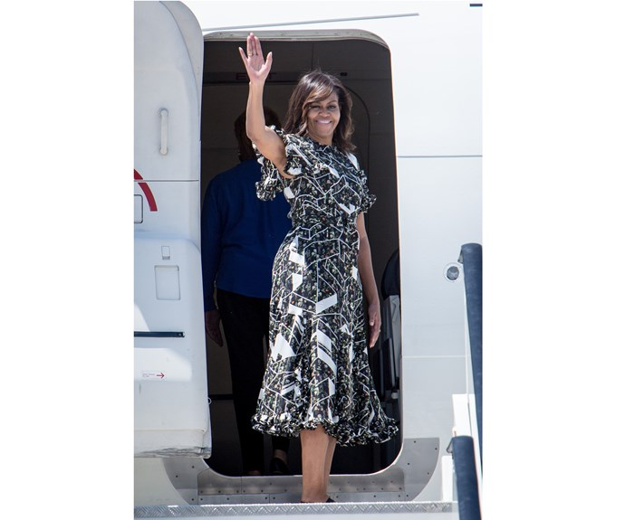 Lady Michelle Obama boards an official plane prior to her departure from Torrejon Air Force Base on July 1 2016 in Madrid Spain