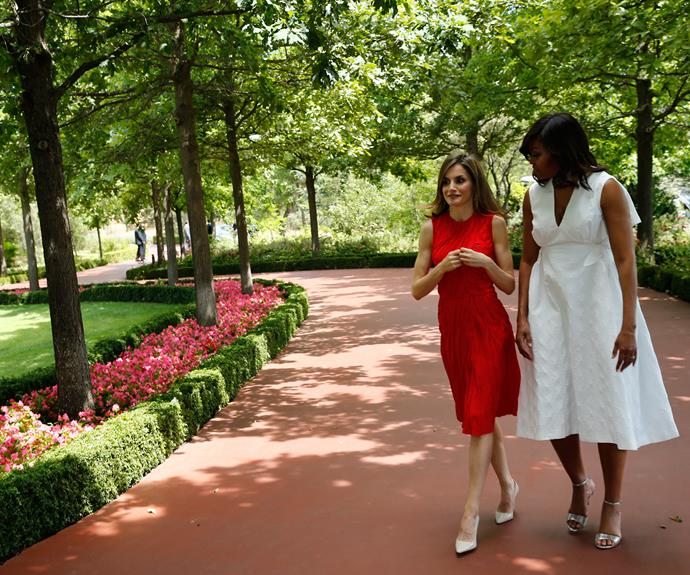 During her tenure as First Lady, Michelle has spent time with countless foreign leaders and their families. Here, she speaks to Span's Queen Letizia.
