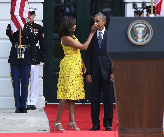 A candid moment between Michelle and Barack Obama.