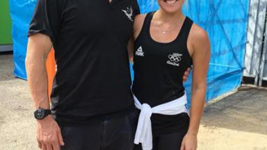 Gemma Flynn celebrates Black Sticks' victory as they thrash Australia