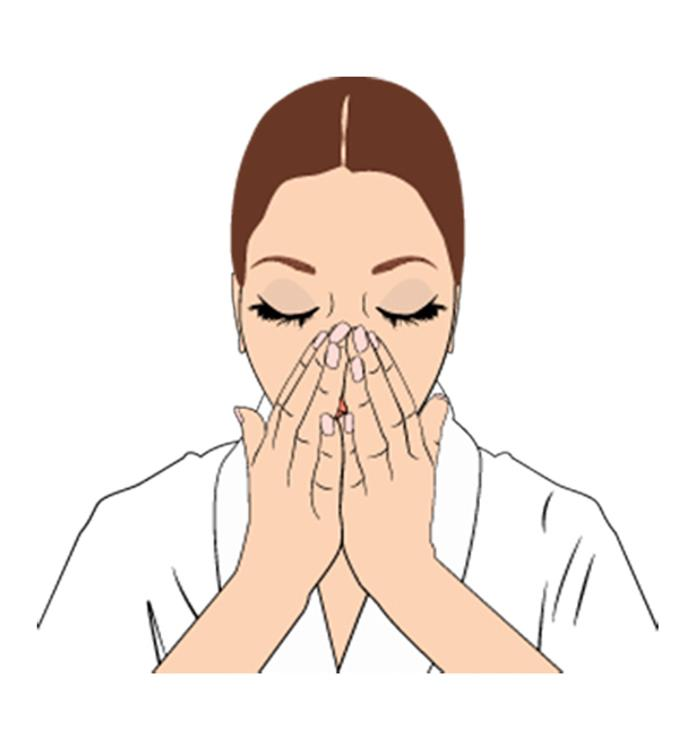 """**Step 1**  Choose your facial oil. """"I place three or four drops of facial oil onto my palms, then rub them together to warm it up,"""" tells Nichola. Lift your hands to your face and breathe in the relaxing aroma."""