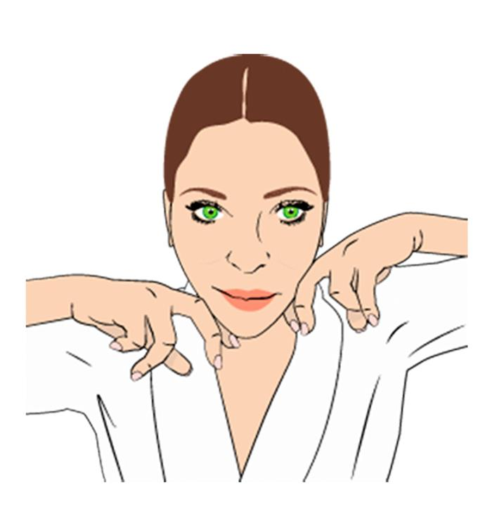 """**Step 3** Help tone and firm your jawline, using your knuckles. """"Bend your middle and index fingers on both hands. Gently rest your chin between the two knuckles on each hand, then smooth them up along your jawline to your ear,"""" says Nichola. Repeat six times."""