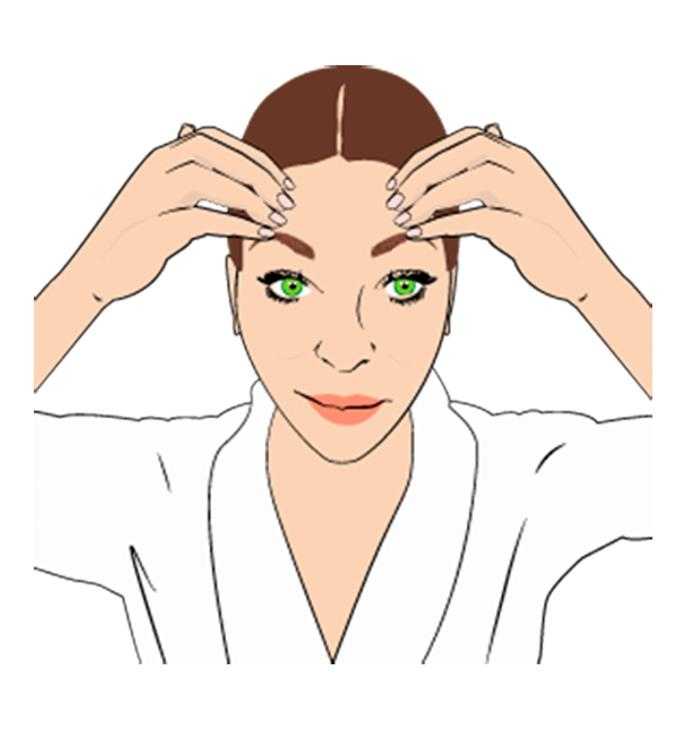 **Step 4**  To help relax the lines on your forehead, place your fingertips in the centre and pull them outwards towards your temples. Apply a little bit of pressure as you go. Repeat this six times.