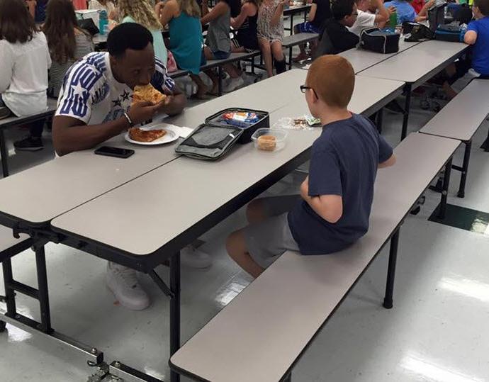 Football player befriends autistic boy