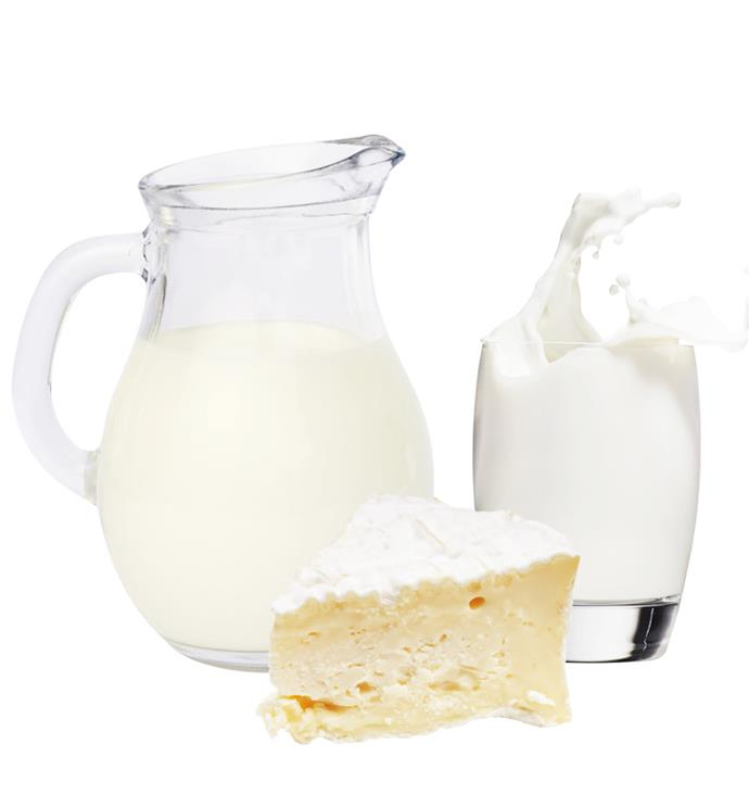 **2.5 serves (or fists,cupped hands or thumbs depending on type) of dairy foods.**