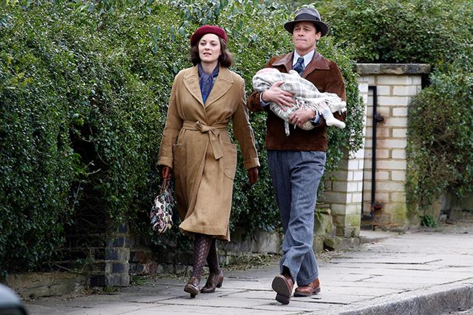 Marion Cotillard and Brad Pitt on the set of *Allied*.