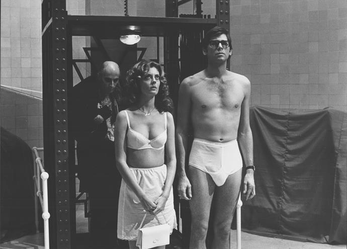 With Richard O'Brien and Barry Bostwick in a scene from *The Rocky Horror Picture Show* in 1975.