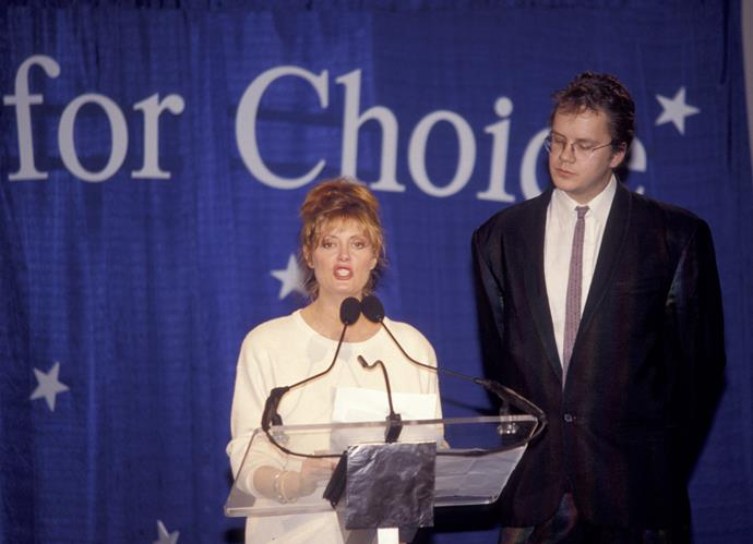With partner Tim Robbins during a Pro Choice Rally in Washington D.C. in 1989. The star has been outspoken about politics throughout her career.