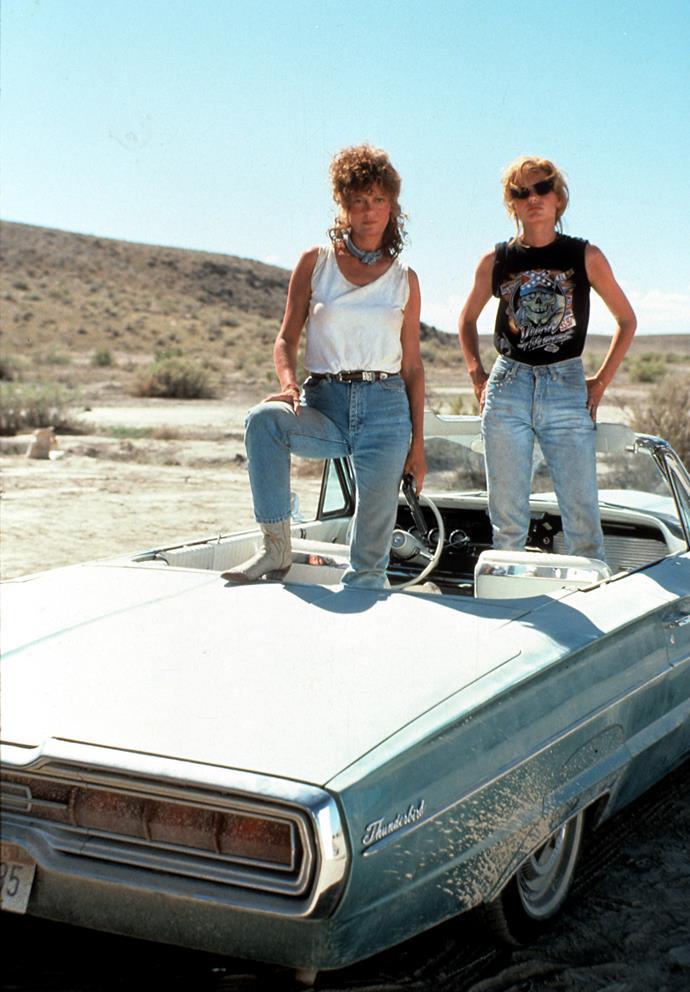 Susan and Geena Davis sin the 1991 film, *Thelma & Louise*.