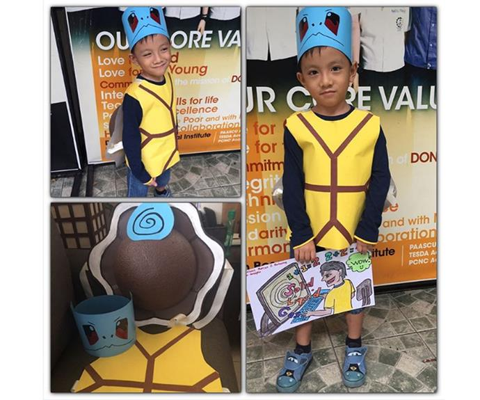 """**Pokemon** This child has dressed as his favourite Pokemon, Squirtle, with only cardboard, tape and polystyrene!   [eazermarcus](https://www.instagram.com/p/BK7RrF6BppC/
