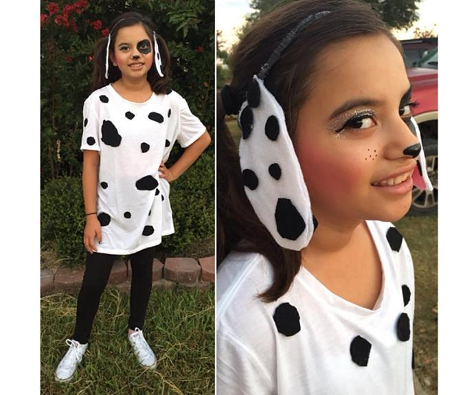 "**Dalmatian** Makeup, a head band and some felt is all it took to transform this girl into a puppy!  [fabulousmom78](https://www.instagram.com/p/BKikmP1hemU/|target=""_blank"")"