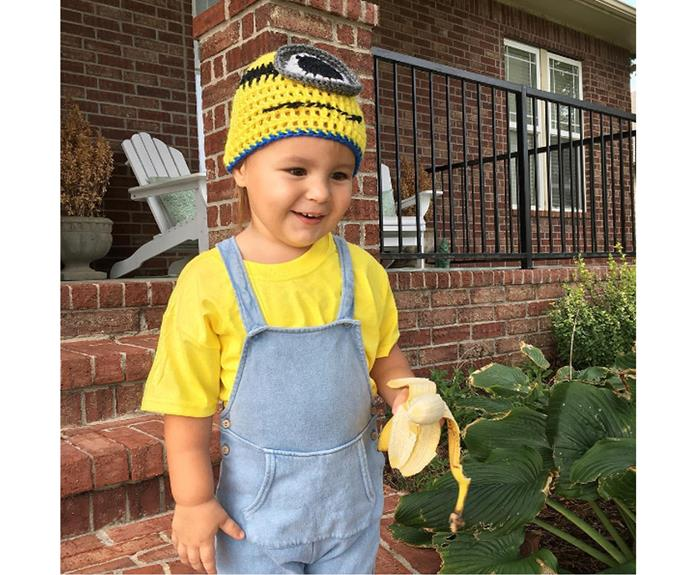 """**Minion** For some reason, kids love minions. If they have a yellow tshirt, overalls and a yellow hat, they can be one for Halloween. Try pinning an eye (or two) to the hat, or if you are brave, use yellow face paint instead - banana optional.  [houseofsparrows](https://www.instagram.com/p/BKV40org-z3/
