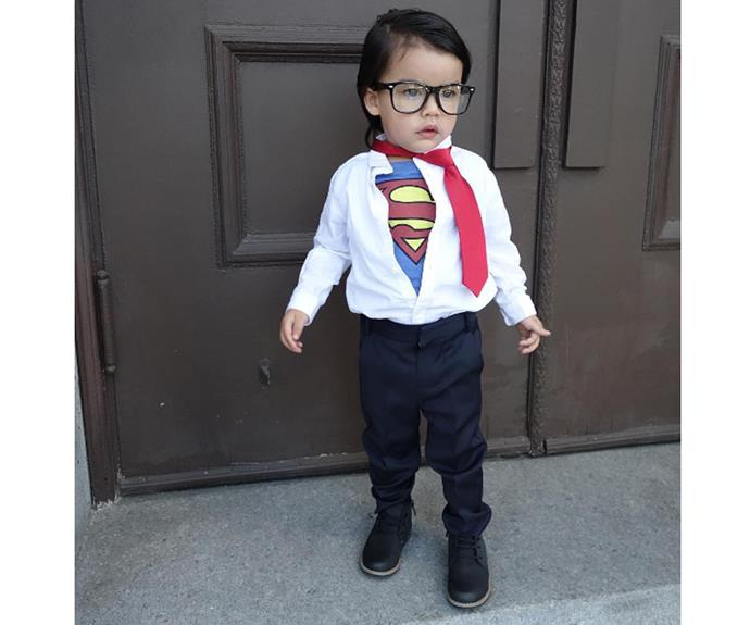 """**Superman** The chances are, your kid already has a super hero tshirt. Pop it under a shirt and tie and you are up, up and away!  [kevin_piercy](https://www.instagram.com/p/BLBmhgKDD_6/