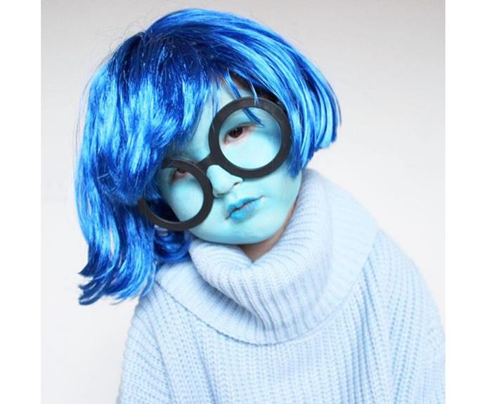 """**Sadness** The character from *inside out* looks adorable and cosy.  [loveandlion](https://www.instagram.com/p/BK1xjarD8sv/
