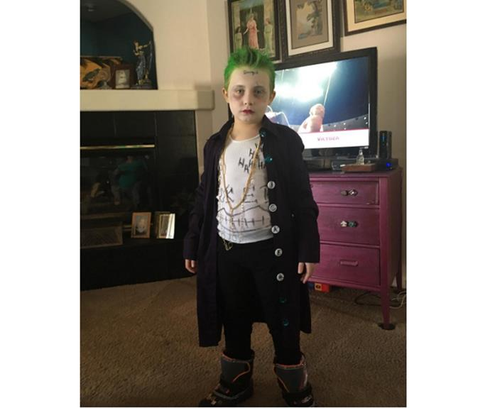 """**Joker** Your kid's regular clothes will probably do to pull off a few famous characters. Just add hair and makeup.  [sheafferpalooza](https://www.instagram.com/p/BJqUBVgD7Z1/