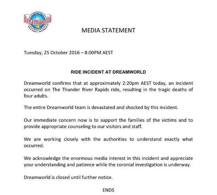 The media statement issued from Dreamworld
