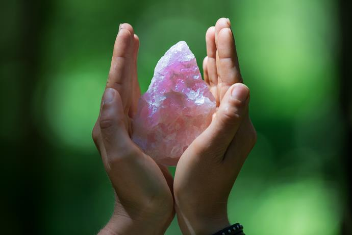 **Rose Quartz** Pretty rose quartz is suggested if you have trouble sleeping, as it's a calming and peaceful stone. It's also meant to help with skin conditions and fertility.