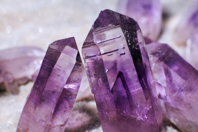 **Amethyst** This purple crystal is often suggested for those of us with anxiety or depression, headaches, stress and tension. It's recommended for use with meditation.