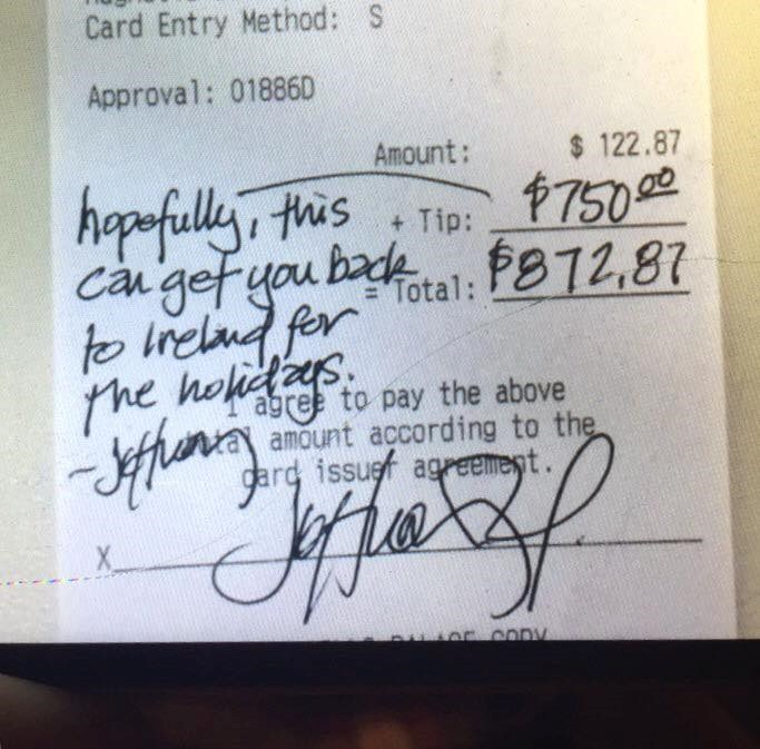 Jeffrey left this tip to help Ben visit friends and family