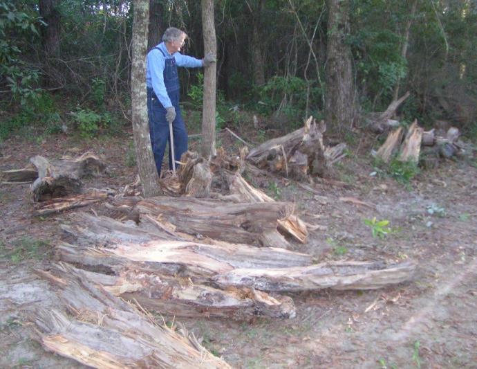 old man cutting wood for medical bills