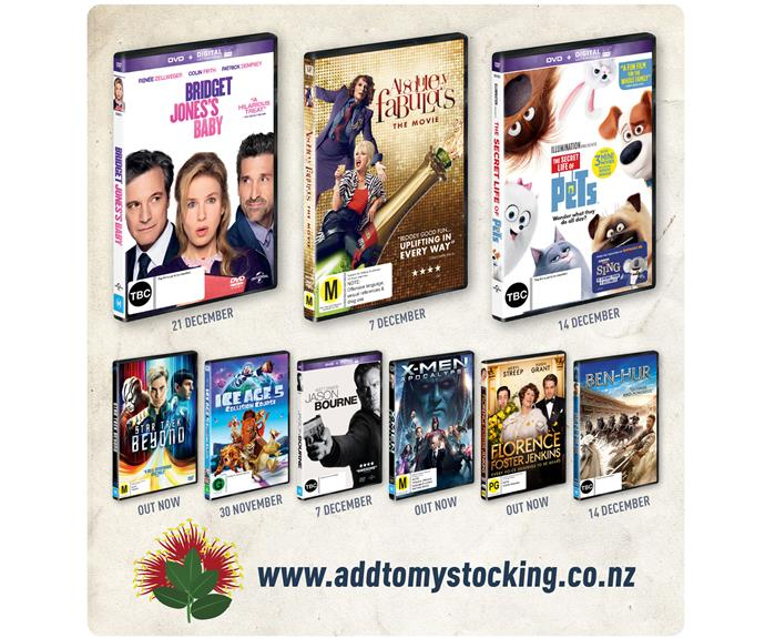 """**Entertainment for all** Make Christmas shopping easier this year with awesome gifts for an epic Christmas! Choose from the latest and greatest DVD and Blu-ray™ movie releases to find something for just about everyone! Visit [addtomystocking.co.nz](http://www.upressplay.co.nz/addtomystocking