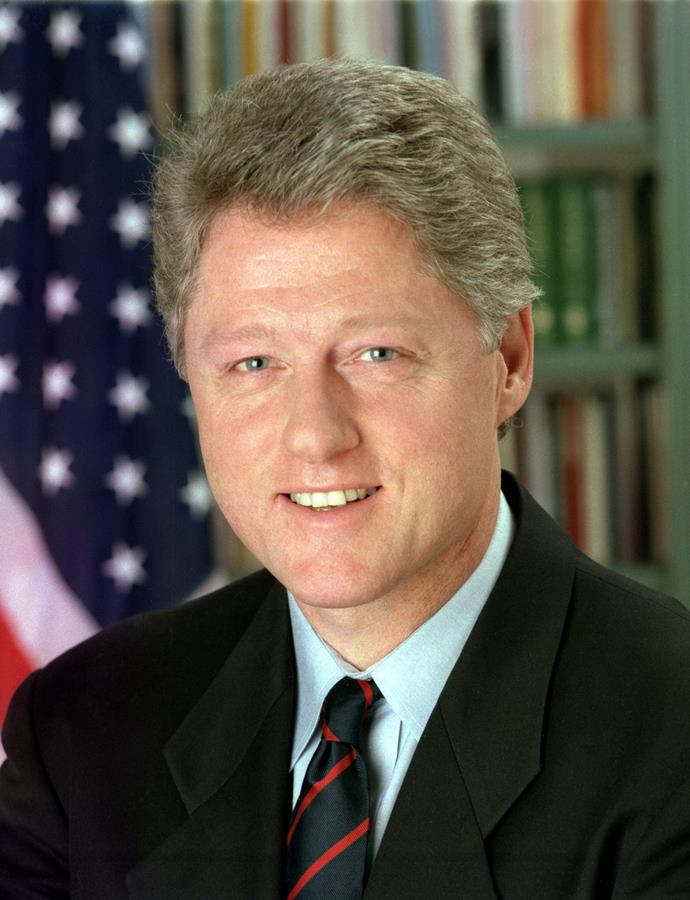 Bill Clinton was a Democrat and President of America from 1993 to 2001. He served for two terms and endured several scandals, including the affair with a 22-year-old colleague, Monica Lewinsky.