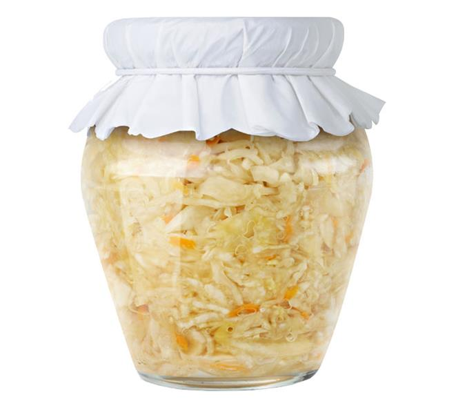 **Sauerkraut** Sauerkraut is made from 'pickled' cabbage, ie bacteria have fermented the sugar in the vegetable.