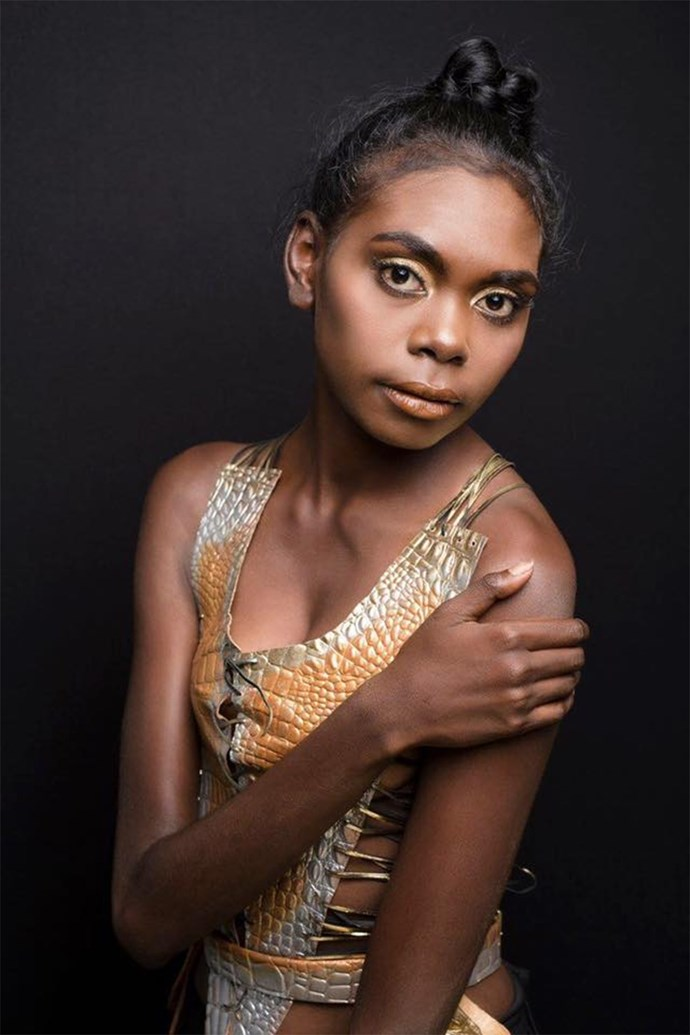 Maminydjama Magnolia Maymuru made history as the first indigenous model to represent the Northern Territory for the Miss World Australia competition.