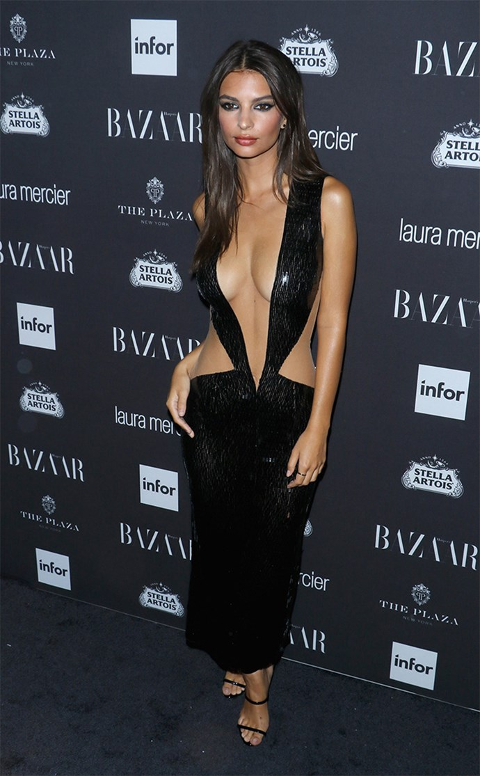 """Emily Ratajkowski copped a serious amount of flak for the fashion-forward Julien MacDonald gown she wore to the Harper's Bazaar party back in September. Main antagonist was *E! News'* Tim Gunn who lashed out at the star's choice calling it """"vulgar and repugnant"""". Emily's comeback: """"It's 2016. Why keep trying to dictate what women can wear?"""""""